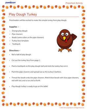 Play Dough Turkey - Free Thanksgiving Activity