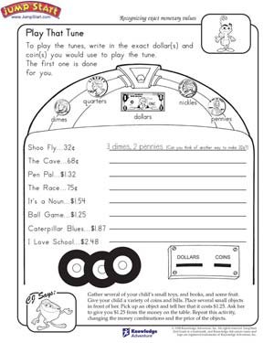 Play That Tune - Free Money Worksheet for Kindergarten