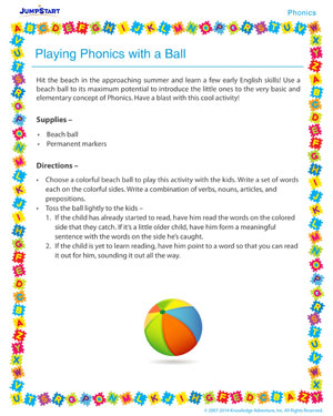 Playing Phonics with a Ball - Phonics activity for kids