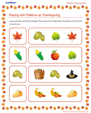 Playing with Patterns on Thanksgiving - Free Thanksgiving Worksheet