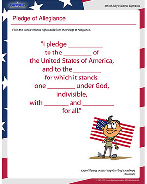 pledge of allegiance free independence day worksheet for 1st grade jumpstart. Black Bedroom Furniture Sets. Home Design Ideas