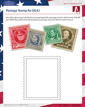 graphic relating to Printable Postage Stamps identified as Postage Stamp for MLKJ MLKJ Working day Printables for Youngsters
