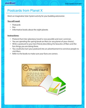 Postcards From Planet X Free Fun Solar System Activity
