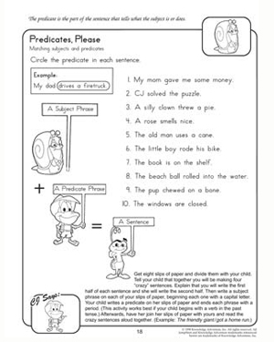 Predicates, Please - Free 2nd Grade English Worksheet
