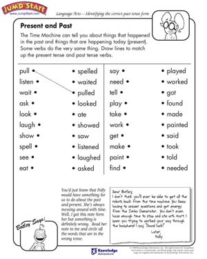 Present and Past – English and Language Arts Worksheets for Kids ...