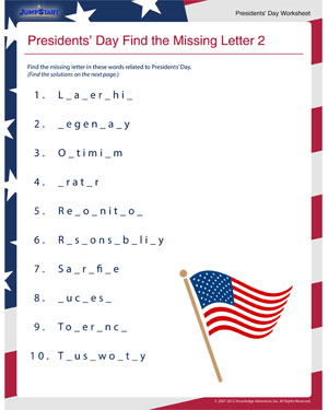 Presidents' Day Find the Missing Letter - 2 - Fun Online Presidents' Day Worksheet for Children