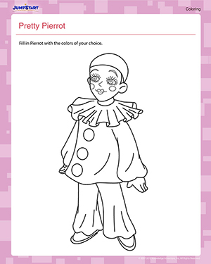 Pretty Pierrot - Free Coloring Worksheet for Kids