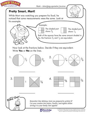 math worksheet : pretty smart mort  math worksheets on fractions  jumpstart : Math Worksheets Equivalent Fractions