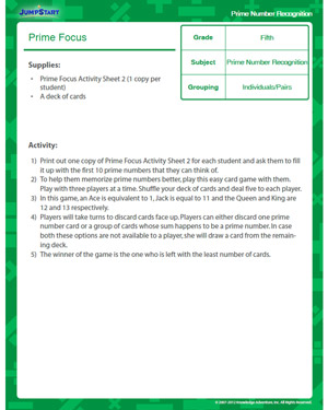 Prime Focus - Free Math Lesson Plan for Fourth Grade