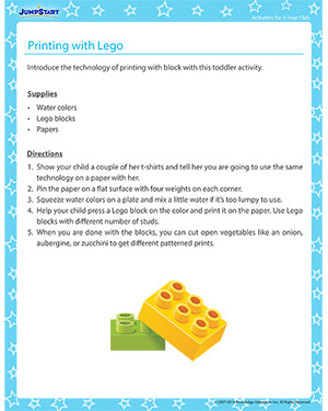 Printing with Lego - Activity for 3-year olds