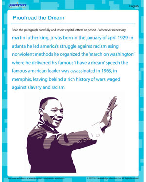 Proofread the Dream - Free Printable MLKJ Worksheet for Kids