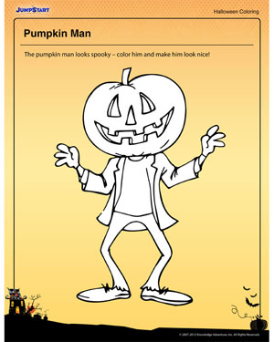 Pumpkin Man - Free Halloween Coloring Page for Kids