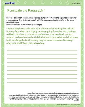 Printables Paragraph Correction Worksheets punctuate the paragraph 1 free punctuation worksheet jumpstart for kids