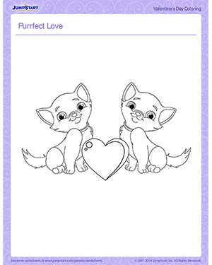 Purrfect Love - Printable Children's Coloring Page for Valentine's Day