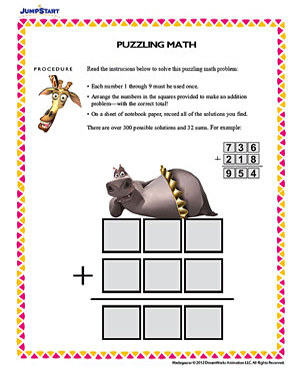 Math puzzle worksheets for middle school