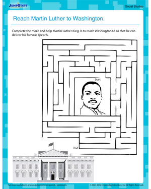 Reach Martin Luther to Washington  - Free Printable MLKJ Worksheet for Kids