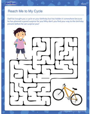 Reach Me to My Cycle – Free Maze Worksheet for Kids – JumpStart