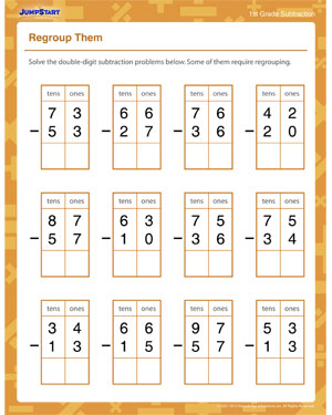 math worksheet : regroup them  free math worksheet for kids  jumpstart : 2nd Grade Math Worksheets Regrouping
