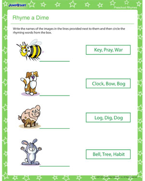 Rhyme a Dime - Free rhyming worksheet