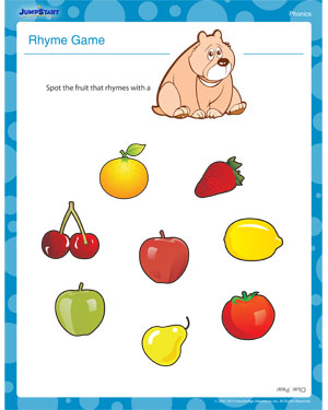 math worksheet : rhyme game  printable phonics worksheet for kindergarten  jumpstart : Phonics Worksheets Kindergarten