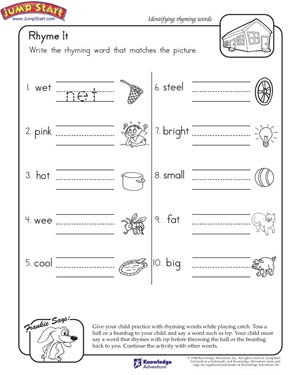 math worksheet : rhyme it  english worksheet on rhyming words for kids  jumpstart : English Worksheets Kindergarten
