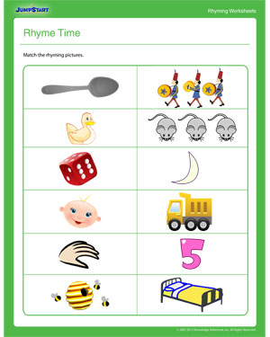 Rhyme Time – English Worksheet for Kindergarten