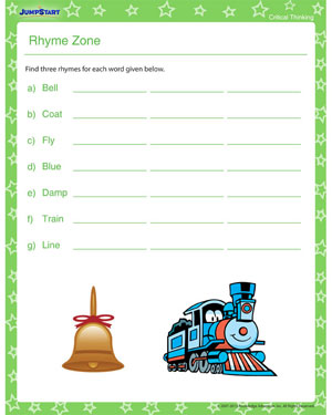 Rhyme Zone - Download Critical Thinking Worksheet