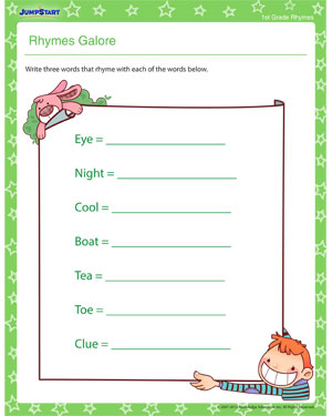 Rhymes Galore - Free rhyming worksheet
