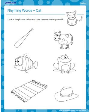 math worksheet : rhyming words cat  free kindergarten reading worksheet  jumpstart : Rhyming Words Worksheet For Kindergarten