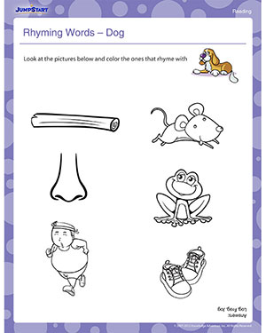 Rhyming Words - Dog - Free Reading Worksheets for Kindergarteners