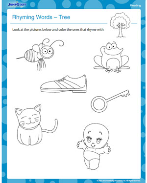 math worksheet : rhyming words  tree  free reading kindergarten worksheet  jumpstart : Free Kindergarten Reading Worksheets