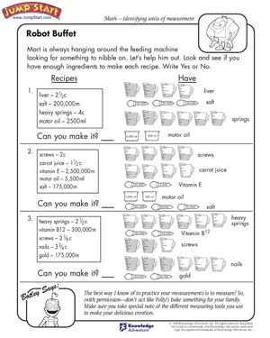 math worksheet : robot buffet  measurement worksheets for kids  jumpstart : 5th Grade Math Measurement Worksheets