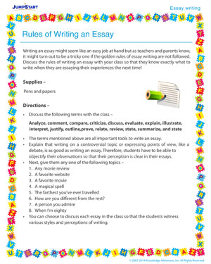 rules for writing essays