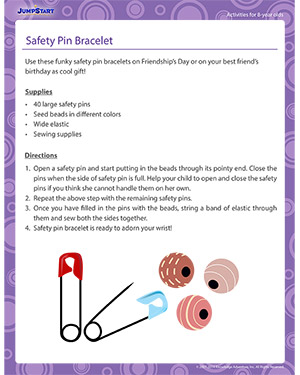 Safety Pin Bracelet - Activity for 8-year olds