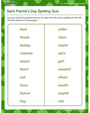 Saint Patrick's Spelling Quiz - Free Online St. Patrick's Day Worksheet