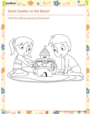Sand Castles on the Beach – Kindergarten Coloring Worksheet