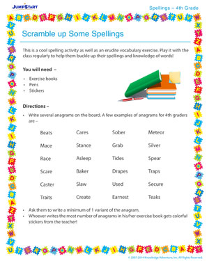 Scramble up Some Spellings - Spelling activity for kids