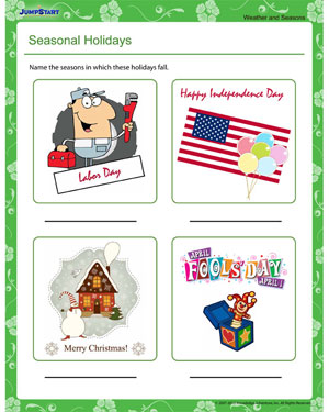 Seasonal Holidays - Free Weather and Seasons Worksheet for Kids