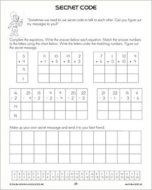 Secret Code Free Printable Addition And Subtraction