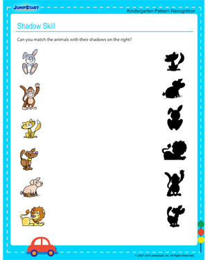 Shadow Skill – Pattern Worksheet for Kindergarten Kids – JumpStart