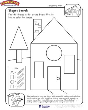 Shapes Search - Free 1st Grade Math Worksheet