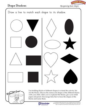 Shape Shadows – Math Worksheet on Shapes for Kindergarteners ...