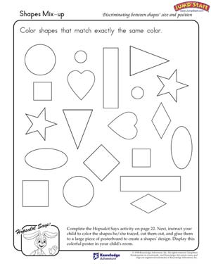 math worksheet : shapes mix up  critical thinking and logical reasoning skills and  : Identifying Shapes Worksheets Kindergarten