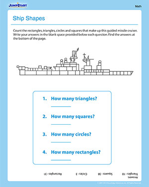 Shapes in the Cruiser - First Grade Math Worksheet