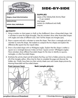 preschool math lesson plan side by side free printable math lesson plans for 371