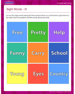 Sight Words III - Reading Worksheet