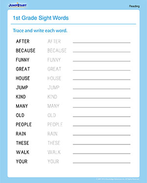 Printables 1st Grade Sight Word Worksheets sight words printable worksheets for 1st graders jumpstart words