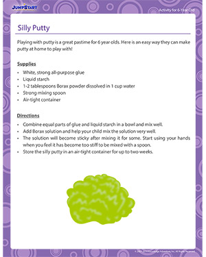 silly putty free craft activity for 6 year olds jumpstart