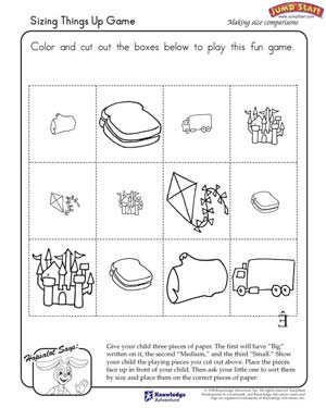 math worksheet : sizing things up game  critical thinking and logical reasoning  : Math Reasoning Worksheets