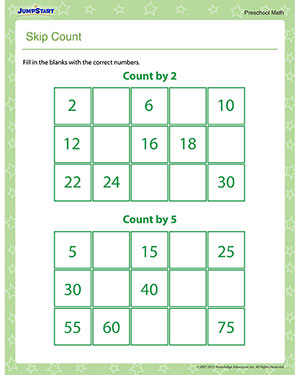skip count free skip counting worksheet for preschool jumpstart. Black Bedroom Furniture Sets. Home Design Ideas